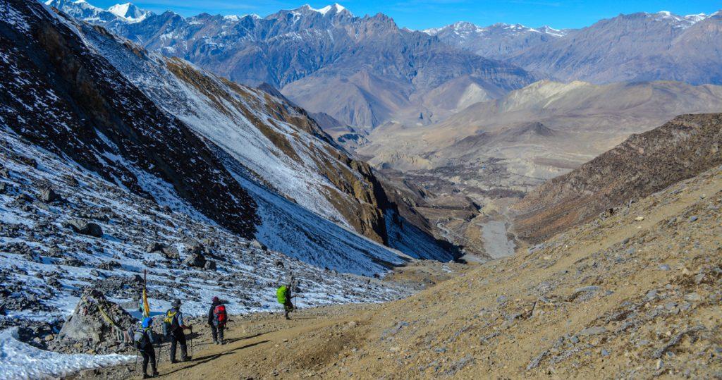 Descending from Thorong La pass and heading down to Muktinath. Photo by Rishav Adhikari