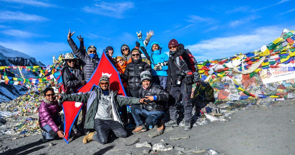 Happy moment having reached Thorong La pass (5,416m). Photo contributed by Rishav Adhikari.